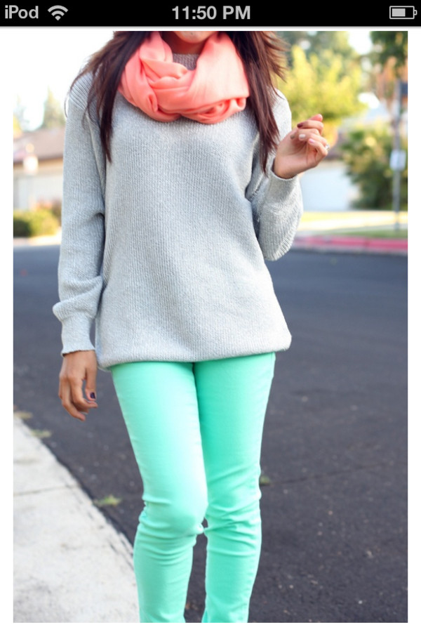 sweater scarf grey pants