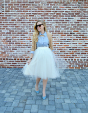 fash boulevard,blogger,cardigan,light blue,blue shirt,tulle skirt,white skirt,midi skirt,retro