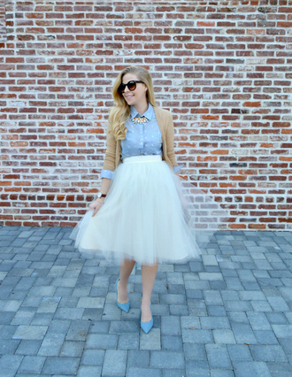 fash boulevard blogger cardigan light blue blue shirt tulle skirt white skirt midi skirt retro