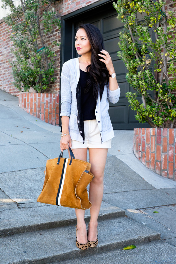 the fancy pants report top cardigan shoes jewels bag make-up