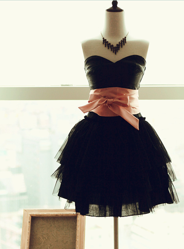 dress tulle dress little black dress prom prom dress cocktail dress puffy sweet necklace cute fashion black ruffle bow rose short elegant layered clothes beautiful