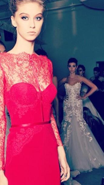 dress red dress lace dress floor length dress khalil long sleeve dress