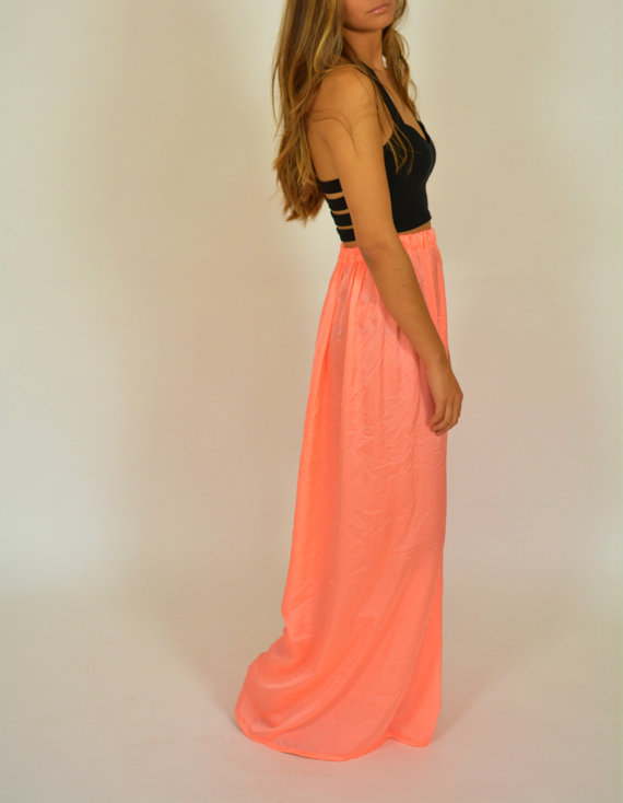 Pink neon satin skirt maxi skirt long skirt neon by chicutopia
