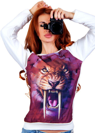 sweater zefinka sweatshirt 3d sweatshirts leopard print outfit outfit idea fall outfits