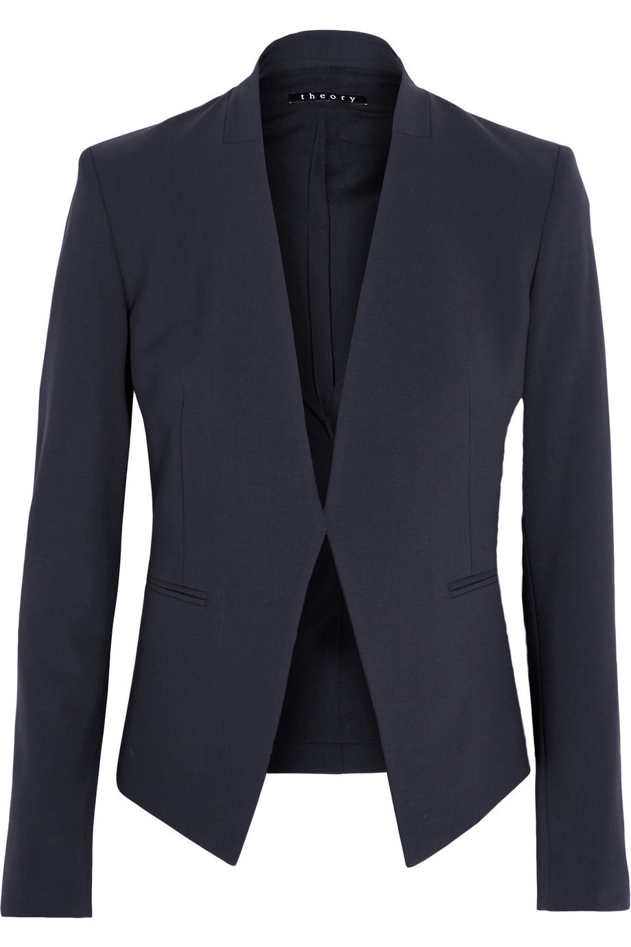 56e057bc610a Theory Lanai Stretch-Wool Crepe Blazer in navy