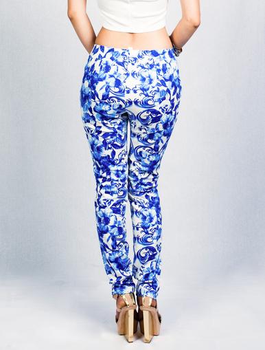 Blue Floral Print Pants - BLU BOUTIQUE