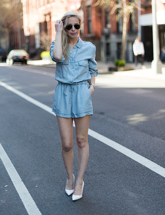 yael steren blogger romper sunglasses jewels light blue white heels