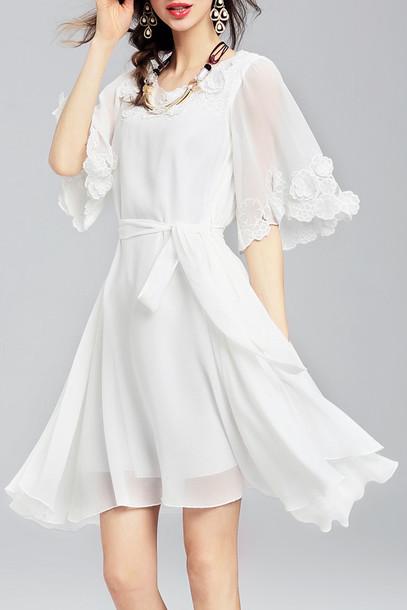 Dress White Fashion Style Romantic Summer Dress Spring Girly Elegant Feminine Dezzal