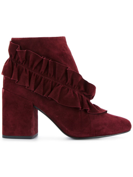 Senso women leather suede red shoes
