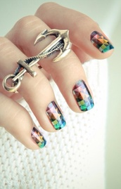 jewels,ring,anchor,girly,jewelry,bronze,cute,Accessory,anchor ring,nail polish,bag