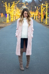 kiss me darling,blogger,sweater,coat,jeans,shoes,turtleneck sweater,white sweater,winter outfits,pink coat,thigh high boots,boots