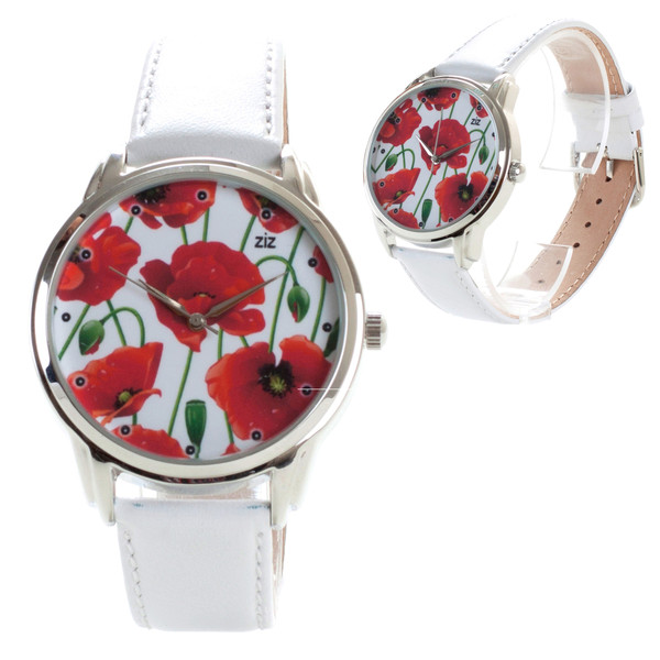 jewels watch watch poppies red white ziziztime ziz watch