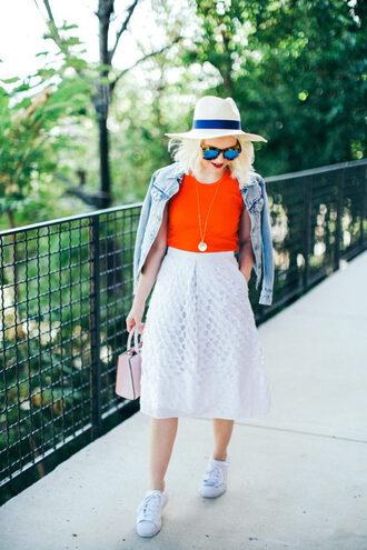 poor little it girl blogger hat tank top skirt shoes bag jacket sunglasses jewels