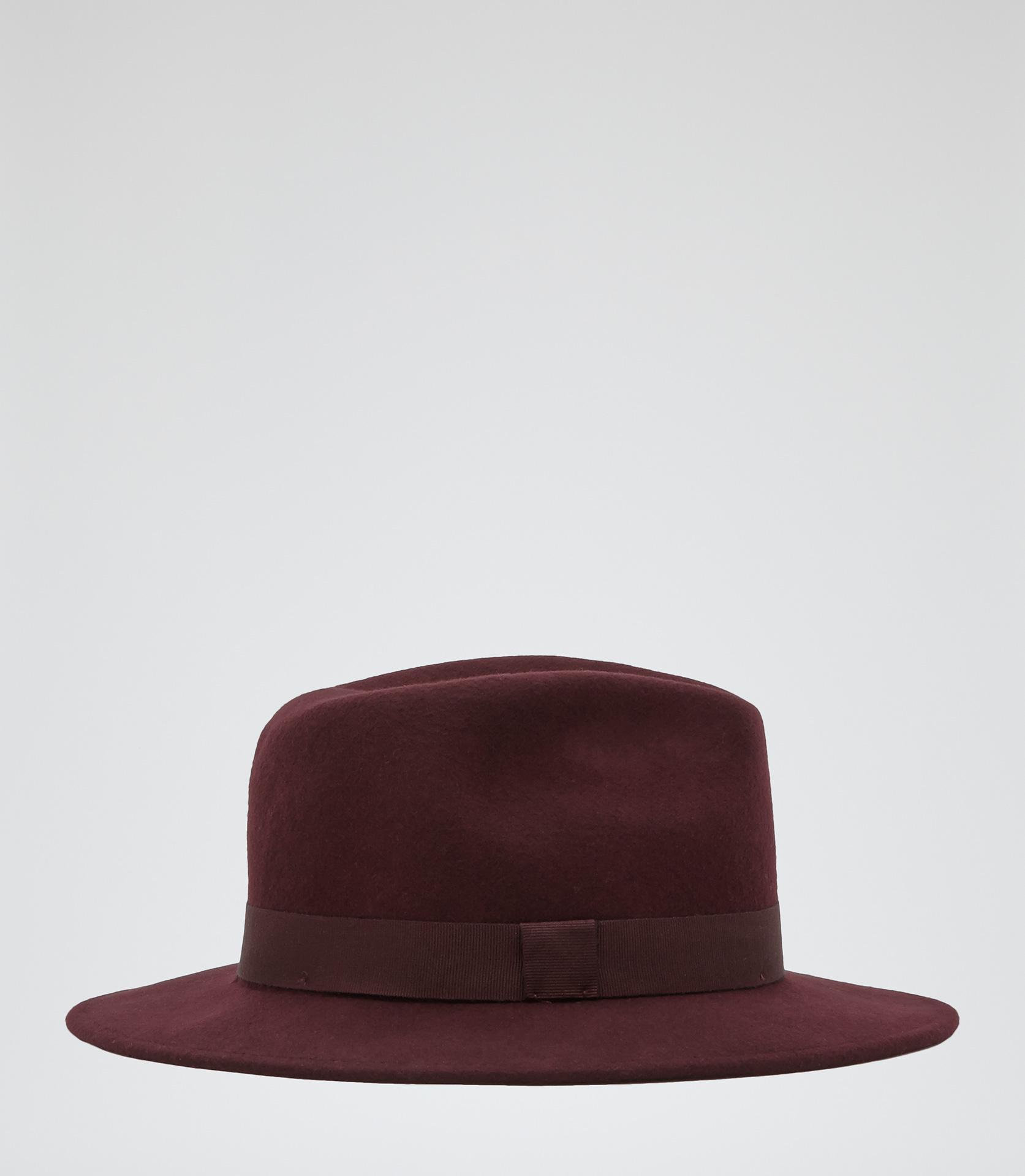 Hattie Aubergine Wool Trilby Hat - REISS