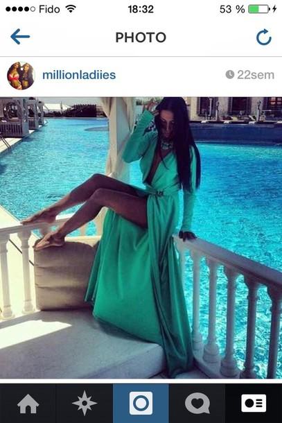 dress turquoise dress maxi
