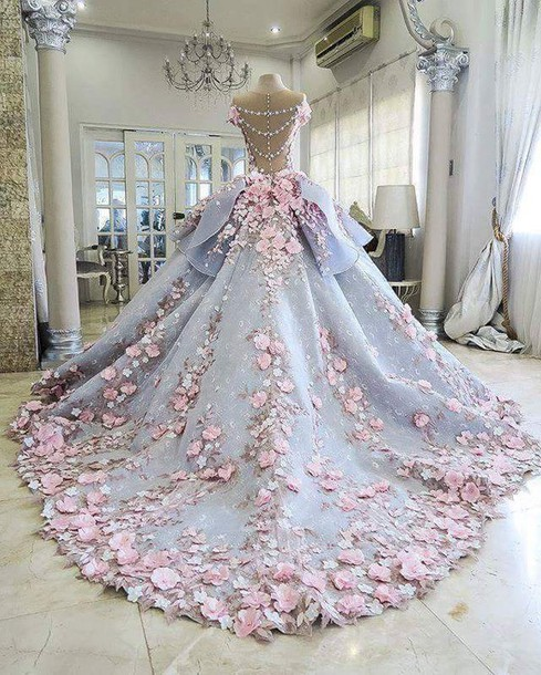 dress, lilac, ball gown dress, flowers, beautiful, rose, roses, gold ...