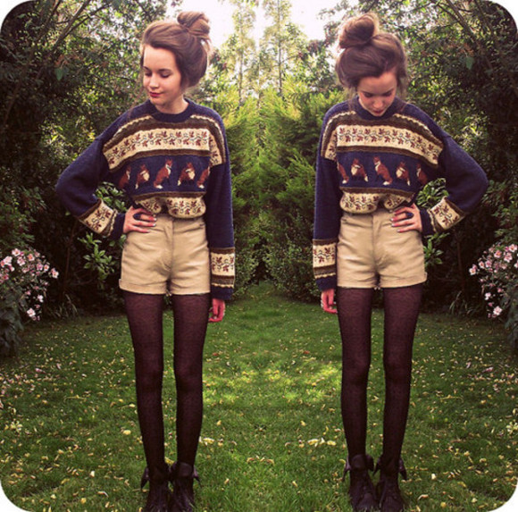 sweater shoes beige winter sweater blue shorts