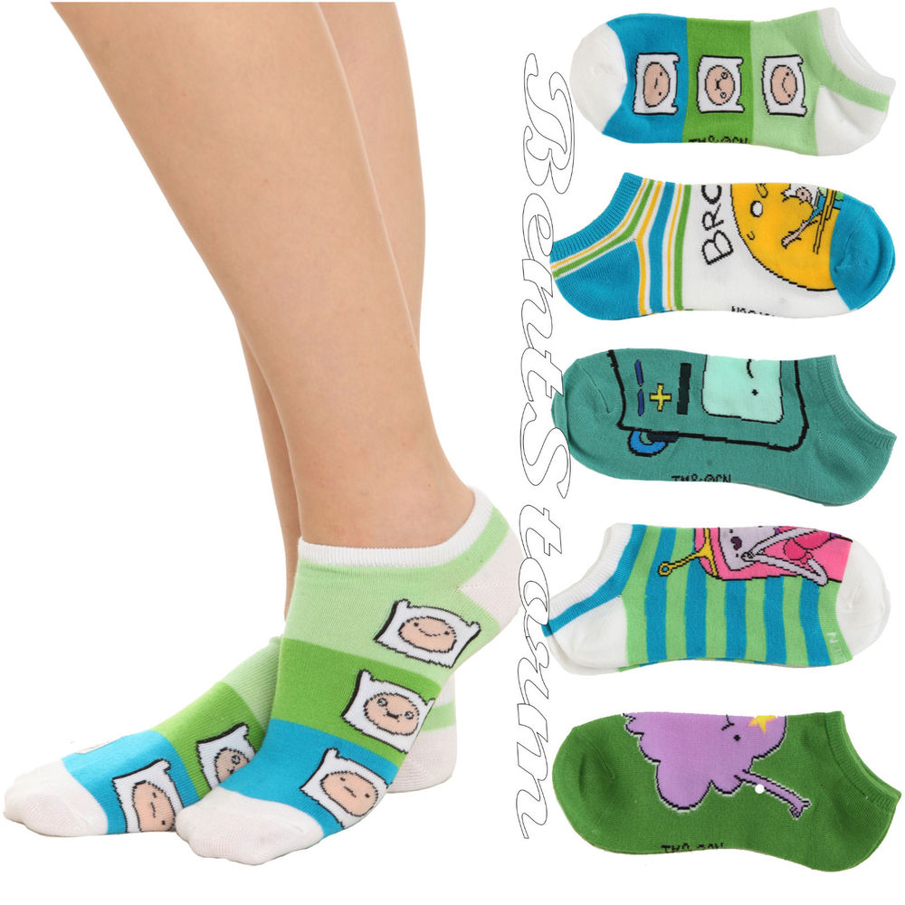 NEW Adventure Time with Finn and Jake NO SHOW ANKLE SOCKS FIVE PAIR Ladies  9-11 - Adventure Time With Finn And Jake NO SHOW ANKLE SOCKS FIVE PAIR