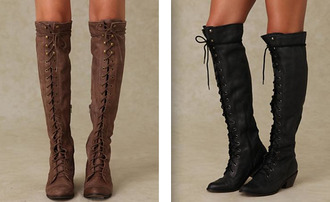 shoes boots lace up knee high brown black cute winter outfits heel beautiful leather jeffrey campbell free people joe high knee boots military style military boots fashion tess christine