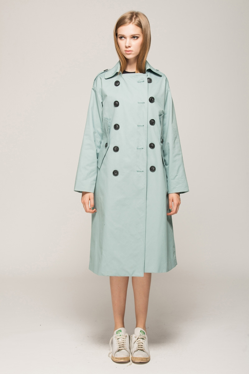 Button up trench coat with cut out sides
