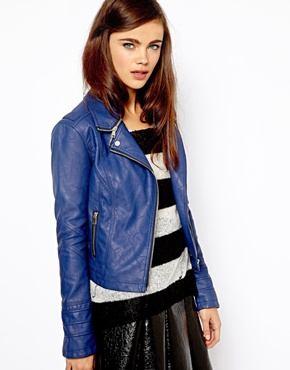 River Island   River Island Zip Collar Leather Look Jacket at ASOS