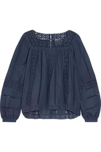 top navy cotton crochet
