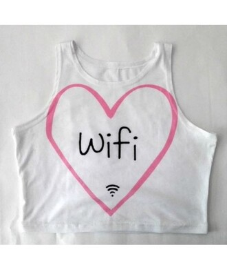 top wifi heart white tank top fashion style summer teenagers cute trendy it girl shop