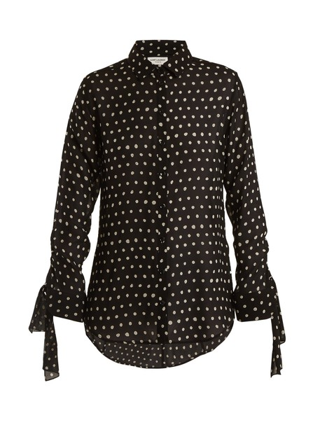 Saint Laurent blouse print silk white black top