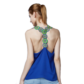 shirt blue top racerback tank top halter crop top blue shirt backless top