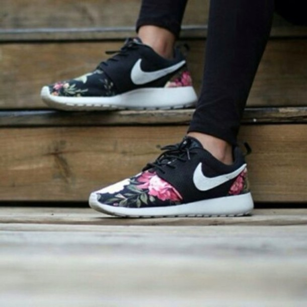 Shoes: nike roshe run, floral, nike, nikes, sneakers