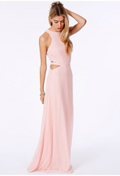 dress,maxi dress,nude,cut-out,prom dress,prom gown,pink,light pink