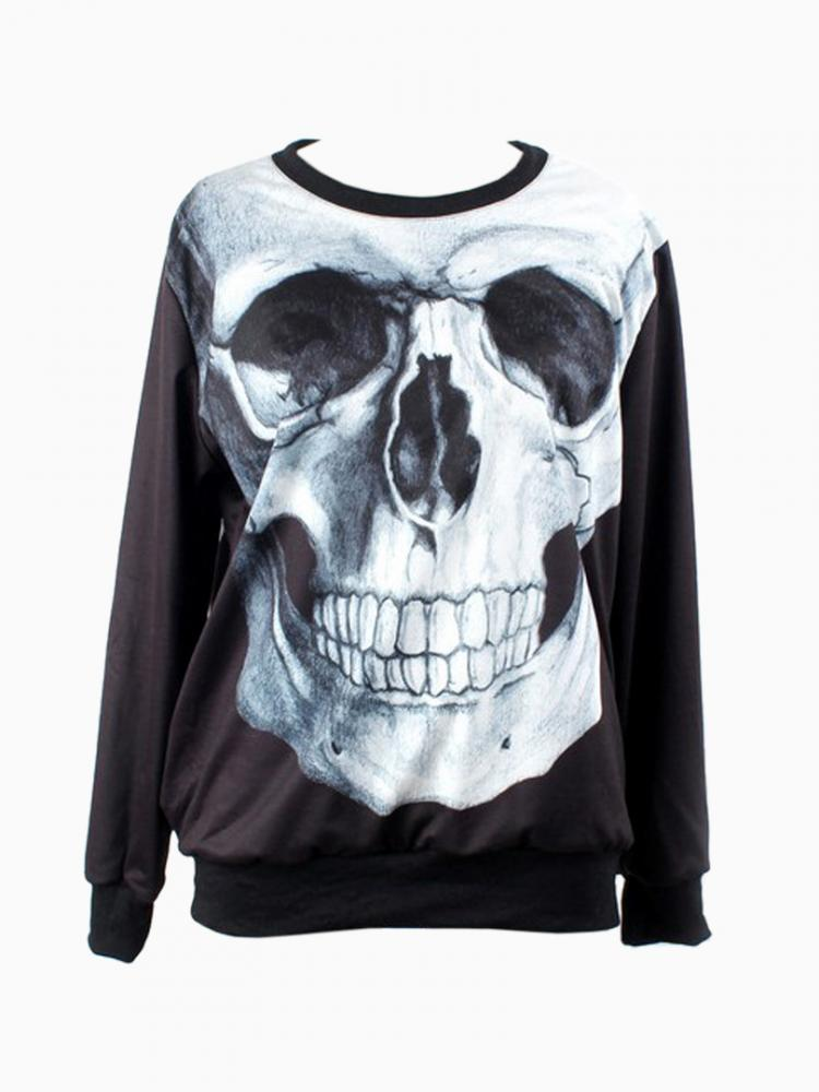 Black Sweatshirt In Skull Print | Choies