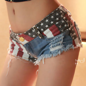 Hot Sexy Women American US Flag Charm Jeans Shorts Pants Denim Low Waist | eBay