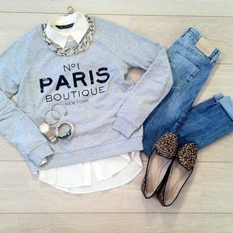 jewels shoes shirt jeans sweater grey paris grey paris sweater girly jumper knitted sweater blue grey sweater cat sweater