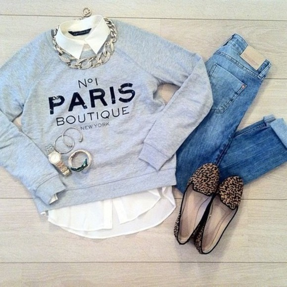 sweater paris blue jewels shoes shirt jeans grey, paris, grey, paris grey paris sweater chicityfashion girly jumper knitted sweater