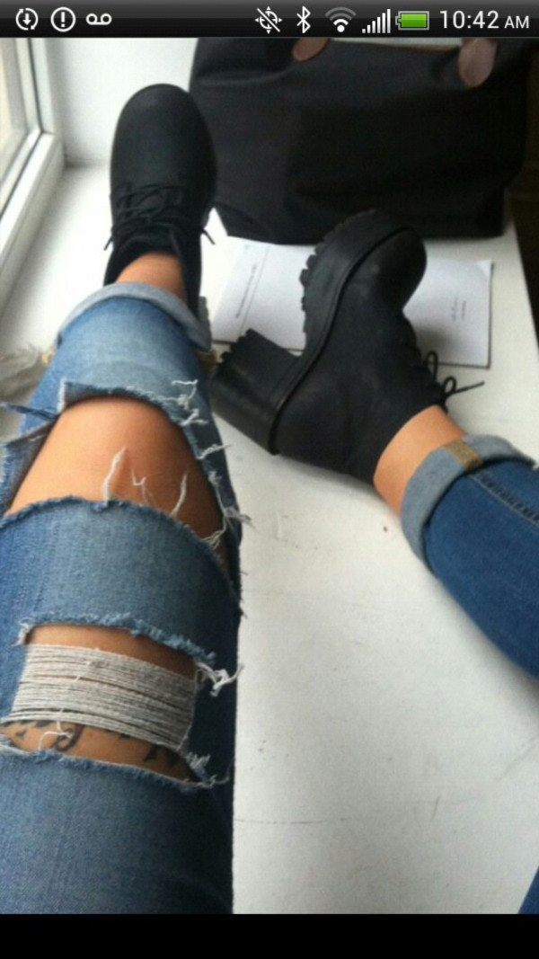 shoes black platform shoes sneakers creepers jeans