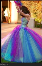 dress,green,pink,purple,sparkle,blue dress,green dress,rainbow dress,blue,ball gown dress,sweet16,clothes,sweet 16,rainbow,colorful,wedding dress,wedding clothes,wedding,prom dress,prom,puffy,puff,formal event outfit,graduation dresses,fit for prom/graduation,sparkly dress,princess dress,inspired,disney,pink dress,perfecto,colourful dress for wedding or formal ect,purple dress,party,blue prom dress,galaxy gown,galaxy print,galaxy dress,gown,glitter prom dress,mint,glitter