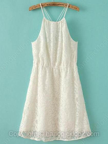 White Spaghetti Strap Sleeveless Lace Dress - HandpickLook.com