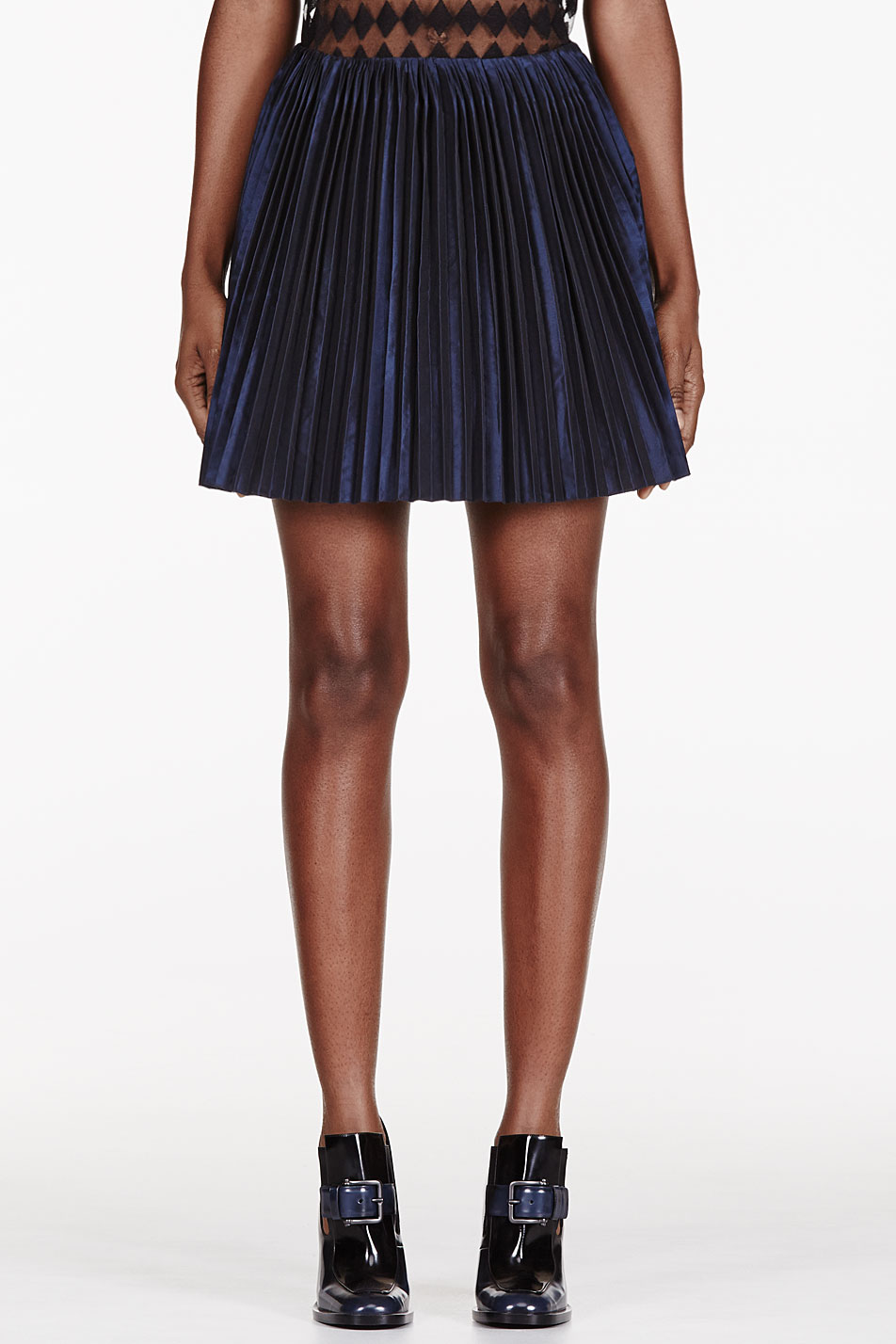 maiyet navy stiff pleat short skirt