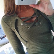 shirt,green,olive green,tied,olive green top,cute,strings,lace,rigged,long sleeves,t-shirt,color is khaki