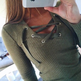 shirt green olive green tied olive green top cute strings lace rigged long sleeves t-shirt color is khaki