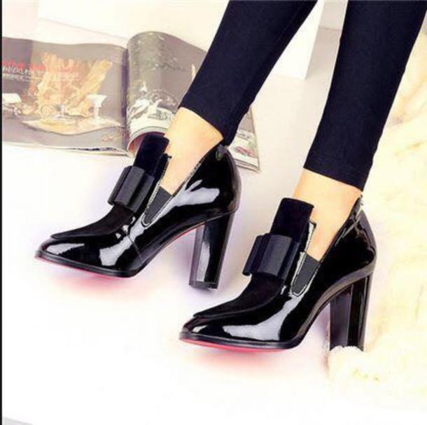 shoes black dress pumps bow shoes