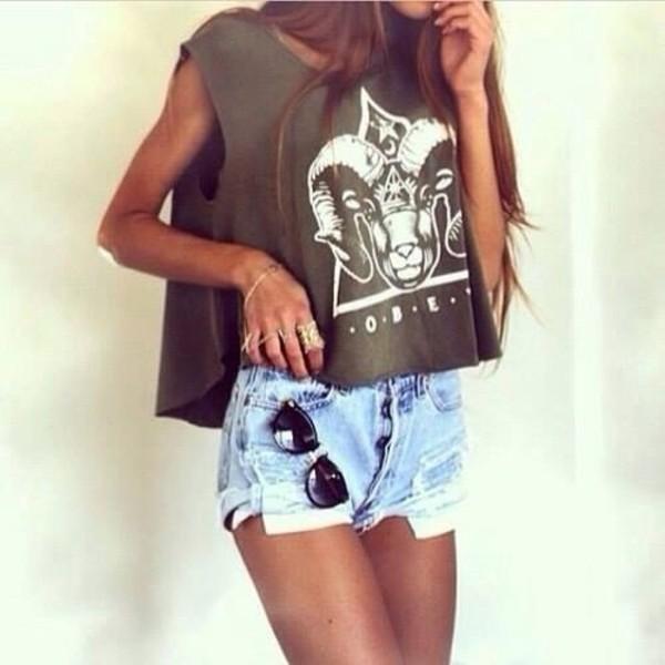 t-shirt shirt goat skull shorts denim shorts green hipster summer top summer outfits blouse sunglasses
