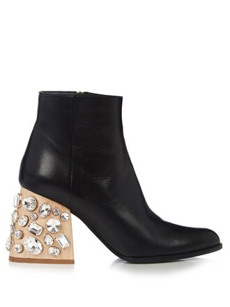 heel leather ankle boots embellished boots ankle boots leather black shoes
