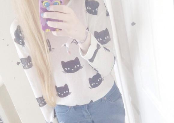 knit top kawaii cats black cat kfashion winter outfits