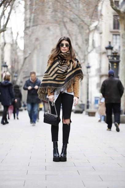 dulceida blogger platform shoes blanket scarf suede jacket black ripped jeans scarf jacket blouse jeans bag shoes