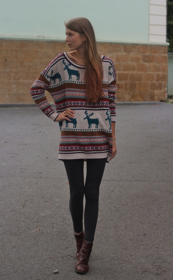 Nordic Print Oversized Knitted Jumper - OASAP.com