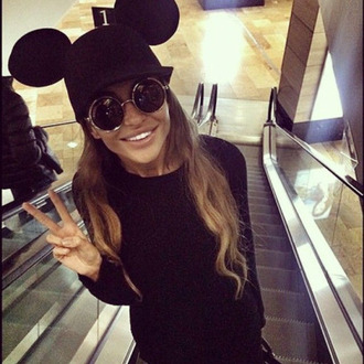 hat mouse mouse hat mouse ears round sunglasses