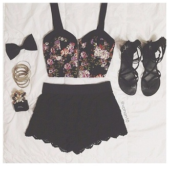 shirt half cut flowers black skirt flat sandals mini skirt jewels shoes shorts
