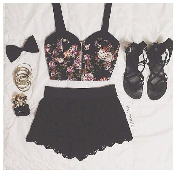shirt half cut flowers black skirt flat sandals mini skirt jewels shoes shorts